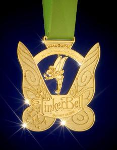 The Finisher medal for the Tinkerbell Half-Marathon